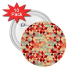 Modern Hipster Triangle Pattern Red Blue Beige 2.25  Buttons (10 pack)