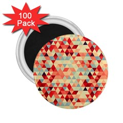 Modern Hipster Triangle Pattern Red Blue Beige 2 25  Magnets (100 Pack)  by EDDArt