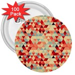 Modern Hipster Triangle Pattern Red Blue Beige 3  Buttons (100 pack)