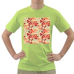 Modern Hipster Triangle Pattern Red Blue Beige Green T Shirt by EDDArt