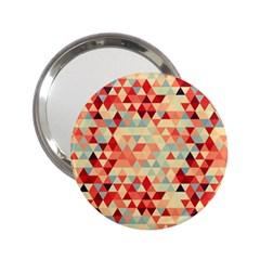 Modern Hipster Triangle Pattern Red Blue Beige 2 25  Handbag Mirrors by EDDArt