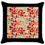 Modern Hipster Triangle Pattern Red Blue Beige Throw Pillow Case (Black)