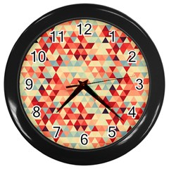 Modern Hipster Triangle Pattern Red Blue Beige Wall Clocks (black) by EDDArt