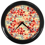 Modern Hipster Triangle Pattern Red Blue Beige Wall Clocks (Black)