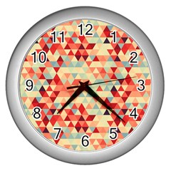 Modern Hipster Triangle Pattern Red Blue Beige Wall Clocks (silver)  by EDDArt