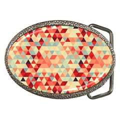 Modern Hipster Triangle Pattern Red Blue Beige Belt Buckles by EDDArt