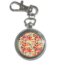 Modern Hipster Triangle Pattern Red Blue Beige Key Chain Watches by EDDArt