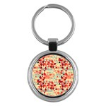 Modern Hipster Triangle Pattern Red Blue Beige Key Chains (Round)