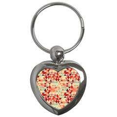 Modern Hipster Triangle Pattern Red Blue Beige Key Chains (heart)  by EDDArt