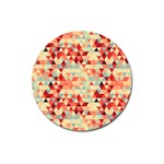 Modern Hipster Triangle Pattern Red Blue Beige Magnet 3  (Round)