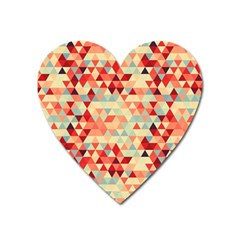 Modern Hipster Triangle Pattern Red Blue Beige Heart Magnet by EDDArt