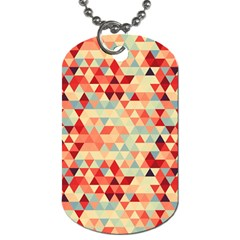 Modern Hipster Triangle Pattern Red Blue Beige Dog Tag (one Side) by EDDArt
