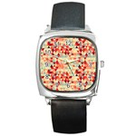 Modern Hipster Triangle Pattern Red Blue Beige Square Metal Watch