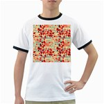 Modern Hipster Triangle Pattern Red Blue Beige Ringer T-Shirts