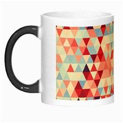 Modern Hipster Triangle Pattern Red Blue Beige Morph Mugs by EDDArt