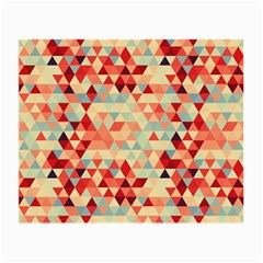 Modern Hipster Triangle Pattern Red Blue Beige Small Glasses Cloth by EDDArt