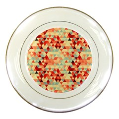 Modern Hipster Triangle Pattern Red Blue Beige Porcelain Plates by EDDArt