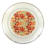 Modern Hipster Triangle Pattern Red Blue Beige Porcelain Plates