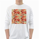 Modern Hipster Triangle Pattern Red Blue Beige White Long Sleeve T-Shirts
