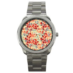 Modern Hipster Triangle Pattern Red Blue Beige Sport Metal Watch by EDDArt