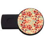 Modern Hipster Triangle Pattern Red Blue Beige USB Flash Drive Round (4 GB)
