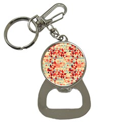 Modern Hipster Triangle Pattern Red Blue Beige Bottle Opener Key Chains by EDDArt