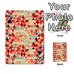 Modern Hipster Triangle Pattern Red Blue Beige Playing Cards 54 Designs  by EDDArt