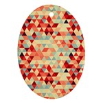 Modern Hipster Triangle Pattern Red Blue Beige Oval Ornament (Two Sides)