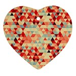 Modern Hipster Triangle Pattern Red Blue Beige Heart Ornament (2 Sides)