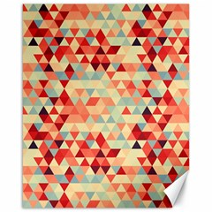 Modern Hipster Triangle Pattern Red Blue Beige Canvas 16  X 20   by EDDArt