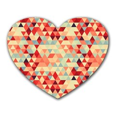 Modern Hipster Triangle Pattern Red Blue Beige Heart Mousepads by EDDArt