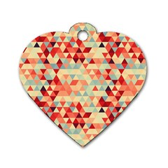 Modern Hipster Triangle Pattern Red Blue Beige Dog Tag Heart (two Sides) by EDDArt