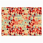 Modern Hipster Triangle Pattern Red Blue Beige Large Glasses Cloth (2-Side)
