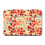 Modern Hipster Triangle Pattern Red Blue Beige Small Doormat