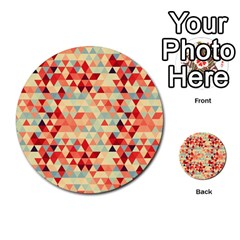 Modern Hipster Triangle Pattern Red Blue Beige Multi Purpose Cards (round)  by EDDArt