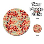 Modern Hipster Triangle Pattern Red Blue Beige Multi-purpose Cards (Round)