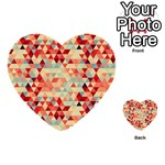 Modern Hipster Triangle Pattern Red Blue Beige Multi-purpose Cards (Heart)