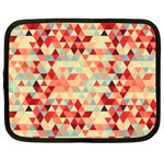 Modern Hipster Triangle Pattern Red Blue Beige Netbook Case (Large)