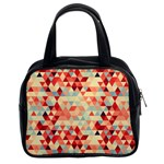 Modern Hipster Triangle Pattern Red Blue Beige Classic Handbags (2 Sides)