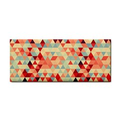 Modern Hipster Triangle Pattern Red Blue Beige Hand Towel by EDDArt