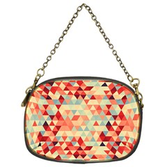 Modern Hipster Triangle Pattern Red Blue Beige Chain Purses (one Side)  by EDDArt