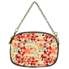 Modern Hipster Triangle Pattern Red Blue Beige Chain Purses (two Sides)  by EDDArt