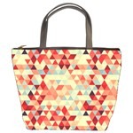 Modern Hipster Triangle Pattern Red Blue Beige Bucket Bags