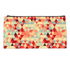 Modern Hipster Triangle Pattern Red Blue Beige Pencil Cases by EDDArt