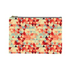Modern Hipster Triangle Pattern Red Blue Beige Cosmetic Bag (large)  by EDDArt