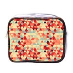 Modern Hipster Triangle Pattern Red Blue Beige Mini Toiletries Bags