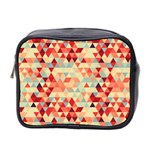 Modern Hipster Triangle Pattern Red Blue Beige Mini Toiletries Bag 2-Side