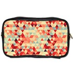 Modern Hipster Triangle Pattern Red Blue Beige Toiletries Bags