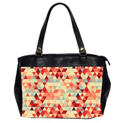 Modern Hipster Triangle Pattern Red Blue Beige Office Handbags (2 Sides)  by EDDArt