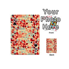 Modern Hipster Triangle Pattern Red Blue Beige Playing Cards 54 (mini)  by EDDArt